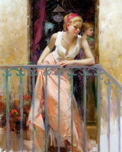 At the Balcony by Pino Daeni